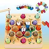 LETOMY Magnetische Angelspiel Holzspielzeug 2 in 1...